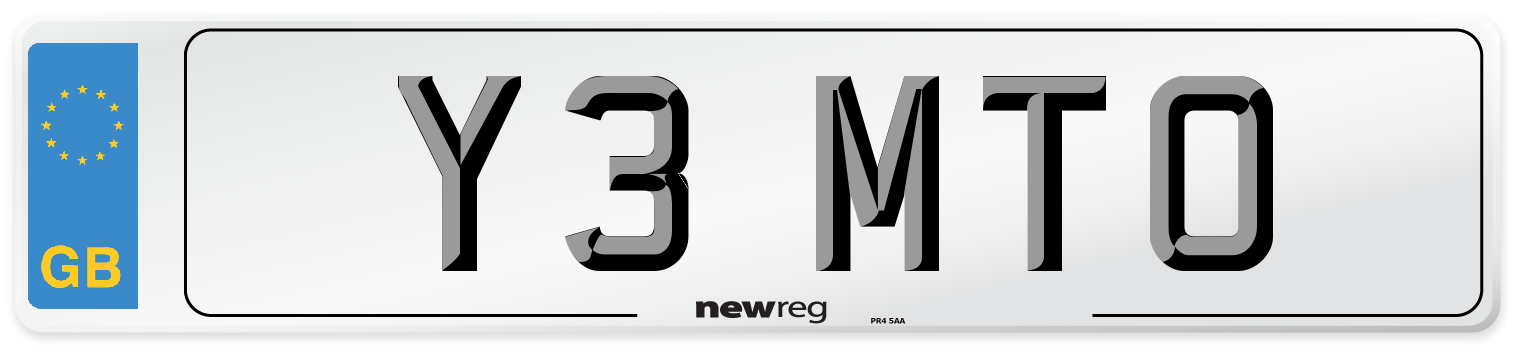 Y3 MTO Number Plate from New Reg